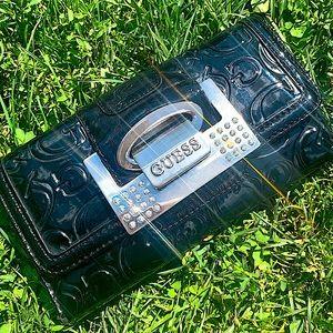 GUESS black leather monogram diamond wallet